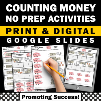 Counting Money Digital Interactive Worksheets