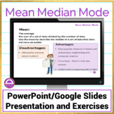 Mean Median Mode Notes and Activities