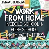 Distance Learning Middle School & High School Math Resourc