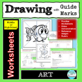 Easy Line Drawing Worksheets for Middle or High School Art