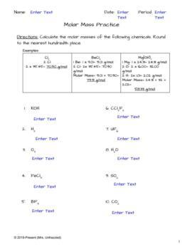 Molar Mass Practice Worksheet / Molar Mass Practice ...
