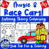 Distance Learning Music - RACE CAR RHYTHMS & Note Reading: