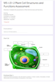 Distance Learning NGSS MS-LS1-2 Plant Cell Structures and Functions Assessment