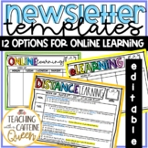 Distance Learning Newsletters and Homework Template for Online