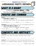 Distance Learning Nouns Grammar Party Worksheet Packet + Test