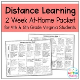 Distance Learning Packet for 4th and 5th Grade Virginia Students
