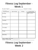 Distance Learning Physical Education Weekly Fitness Log fo