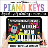 Distance Learning Piano BOOM Cards: White Piano Keys in Ou