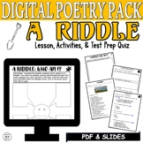 Distance Learning Poetry with Comprehension Questions A Riddle What Am I