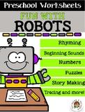 Distance Learning Preschool Worksheets Robots Theme