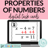 Properties of Numbers and Equality Digital Task Cards