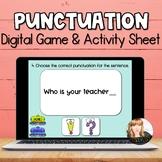 Punctuation Game for Kindergarten & First Grade   DIGITAL   Distance Learning