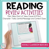 Distance Learning Reading Review Activities for Google Cla