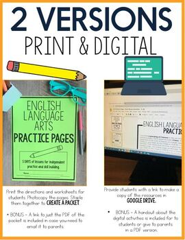 Distance Learning Reading, Writing, and Grammar Practice Pages (Digital Version)