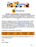 Distance Learning Report Card Comment Bank - Sample Commen