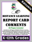 Distance Learning Report Card Comments (Editable)