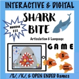 Distance Learning SHARK BITE Teletherapy Speech Game BUNDLE! S, K, Open Ended
