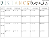 Distance Learning Schedule (Daily/Weekly) - Editable