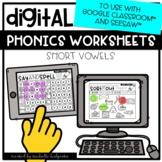 Distance Learning Short Vowels CVC Worksheets for Google C