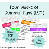 Reading Comprehension Math Writing Morning Work Four Full Weeks ESY Fillable PDF