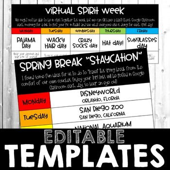 Distance Learning Staycation and Virtual Spirit Week Template