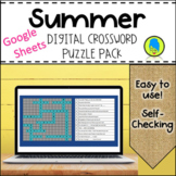 Distance Learning Summer Themed Digital Crossword Puzzles-