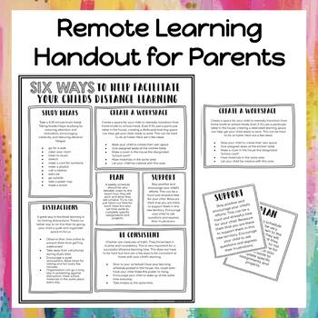 Distance Learning Tips: Document to help parents