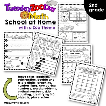 Distance Learning | Tuesday Zoo Day Math | Second Grade | Math Skill Practice