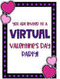 Distance Learning Virtual Valentine's Day Party/ Fun Friday Activities