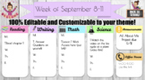 Distance Learning - Weekly/Daily Schedule 100% Editable
