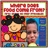 Distance Learning Where Does Food Come From? First Grade N