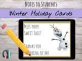 Distance Learning   Winter Holiday (Editable) Thank You Cards: Printable/Digital