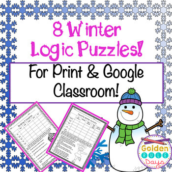Distance Learning Winter Logic Puzzles for Print & Google Classroom! Enrichment