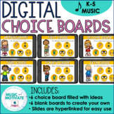 Distance Learning for Music - Digital Choice Board for K - 5