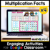 Distance Learning Google Classroom x 4 Multiplication Facts Practice Slides