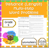 Distance (Length) Multi-Step Word Problems - 4th Grade Measurement (4.MD.2)