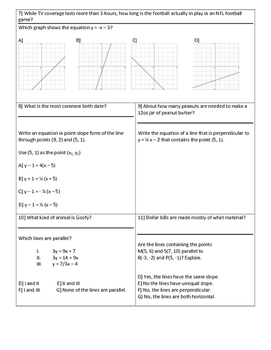 Distance Formula, Midpoint Formula, & Equations of Lines FUN FACT Activity