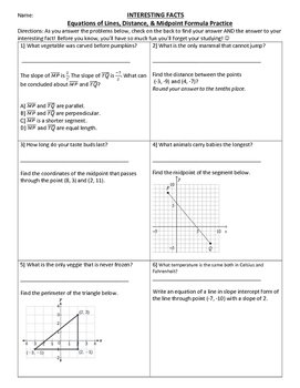 Distance, Midpoint, & Equations of Lines FUN FACT Activity