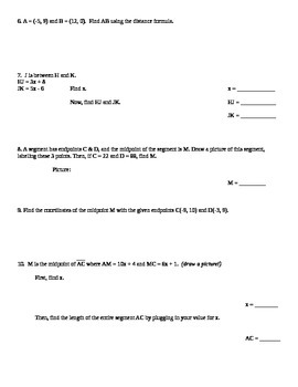 Distance & Midpoint Formula Worksheet