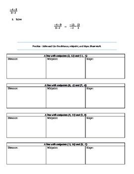 Distance, Midpoint, Slope Intro