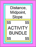 """DISTANCE, MIDPOINT, AND SLOPE:  ACTIVITY BUNDLE (4 SETS OF BOOM """"DIGITAL"""" CARDS)"""