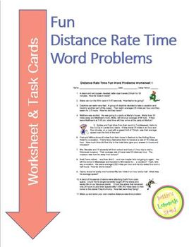 distance rate time fun word problems worksheet task cards tpt. Black Bedroom Furniture Sets. Home Design Ideas