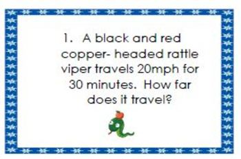 Distance-Rate-Time Fun Word Problems Worksheet & Task Cards