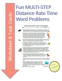 Distance-Rate-Time MULTI STEP fun word problems & Task Cards