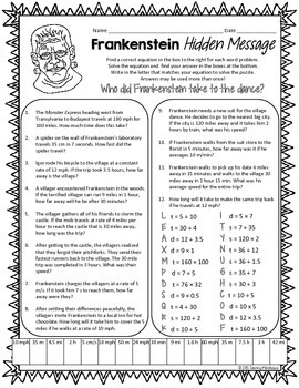 Distance, Rate, & Time Math Puzzle - Frankenstein!