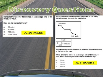 Distance = Rate * Time - Powerpoints, Practice Worksheets, Guided Notes, & RELAY