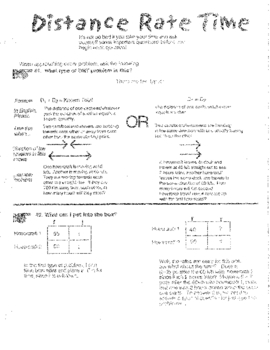 Distance Rate Time System Organizer, Explication and Summary