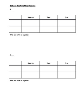 Distance Rate Time Word Problem Student Organizer