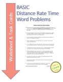 Distance Rate Time Word Problems Worksheet & TASK CARDS (basic problems)