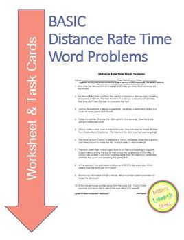 Distance Rate Time Word Problems Worksheet & TASK CARDS (b